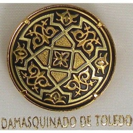 Damascene Gold Geometric Round Brooch style 2204