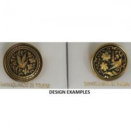 Damascene Gold Bird Round Brooch style 8700