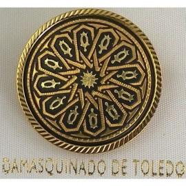 Damascene Gold Geometric Round Brooch style 8700