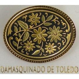Damascene Gold Flower Oval Brooch style 8701