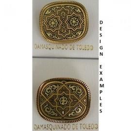 Damascene Gold Geometric Rectangle Brooch style 8702