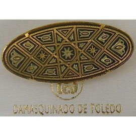 Damascene Gold Geometric Oval Brooch style 2231