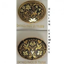 Damascene Gold Bird Oval Brooch style 2206