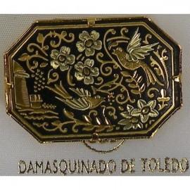 Damascene Gold Bird Octagon Brooch style 2233