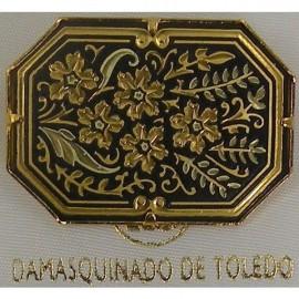 Damascene Gold Flower Octagon Brooch