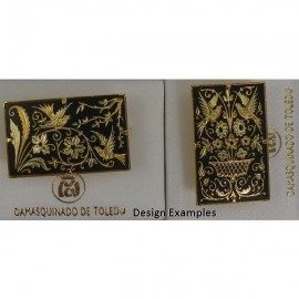 Damascene Gold Bird Rectangle Brooch style 2235