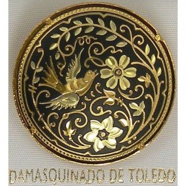 Damascene Gold Bird Round Brooch style 2229