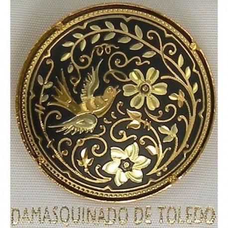 Damascene Gold Bird Round Brooch style 2229
