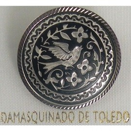 Damascene Silver Bird Round Brooch