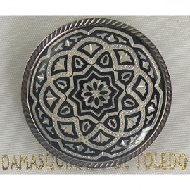 Damascene Silver Geometric Round Brooch