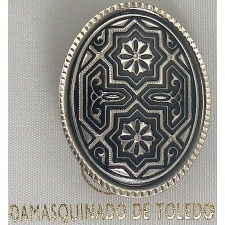Damascene Silver Geometric Oval Brooch