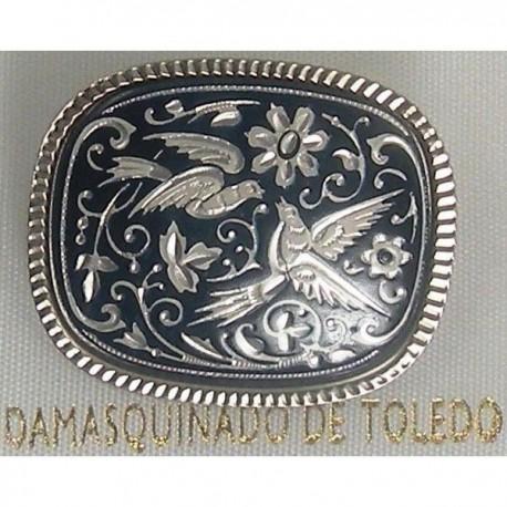 Damascene Silver Bird Rectangle Brooch