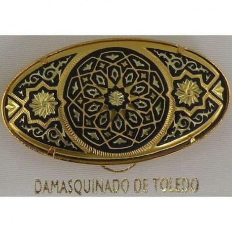 Damascene Gold Geometric Oval Brooch style 2238