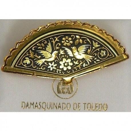 Damascene Gold Bird Fan Brooch style 2210