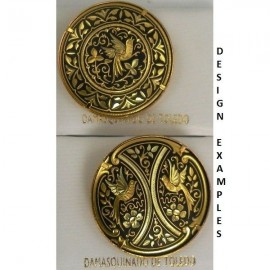 Damascene Gold Bird Round Brooch style 2202