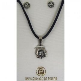 Damascene Silver Bird Pendant and Earrings Set