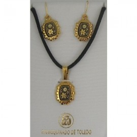 Damascene Gold Flower Pendant and Earrings Set