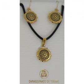 Damascene Gold Star Round Pendant and Earrings