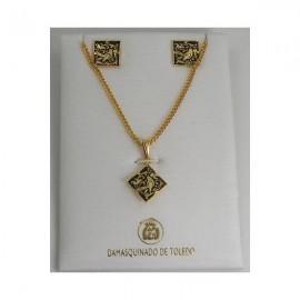 Damascene Gold Square Bird Earrings Necklace Set