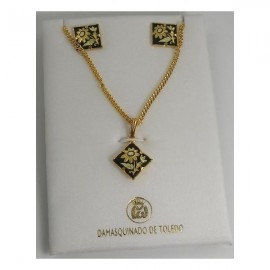 Damascene Gold Square Flower Earrings Necklace Set