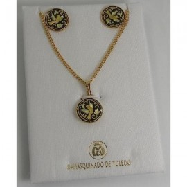 Damascene Gold 15mm Bird Earrings Necklace Set