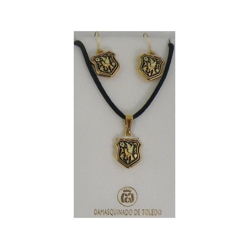 Damascene Gold Bird Shield Pendant and Earrings ...