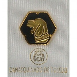 Damascene Gold Dog Hexagon Pin