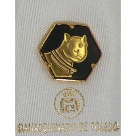 Damascene Gold Cat Hexagon Pin