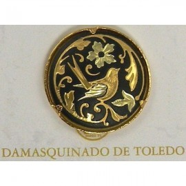 Damascene Gold Bird Round Pin