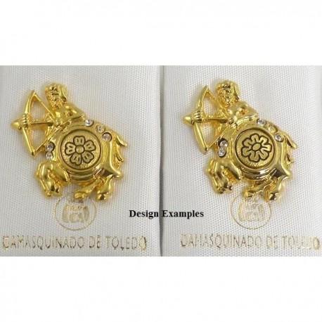 Damascene Gold Sagittarius the Archer Zodiac Pin