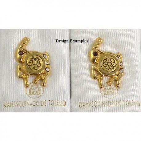 Damascene Gold Capricorn the Goat Zodiac Pin