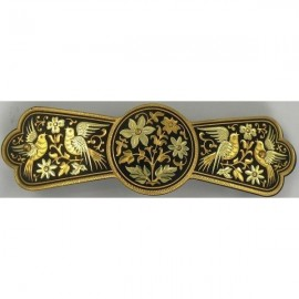 Damascene Gold Bird Hair Barrette style 2348-B