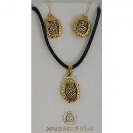 Damascene Gold Geometric Rectangle Pendant and Earrings