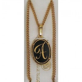 Damascene Gold Letter A Oval Pendant