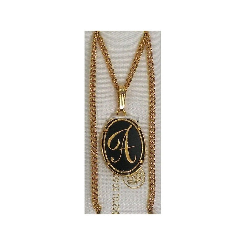 Damascene gold letter a oval pendant aloadofball Image collections