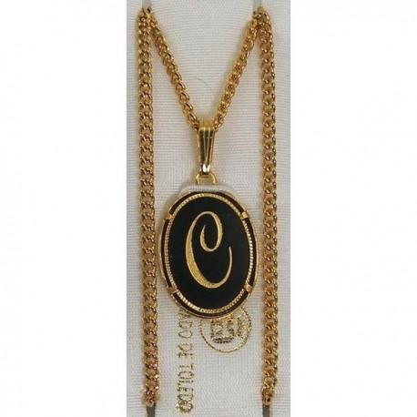 Damascene Gold Letter C Oval Pendant