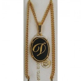 Damascene Gold Letter D Oval Pendant