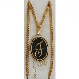 Damascene Gold Letter F Oval Pendant