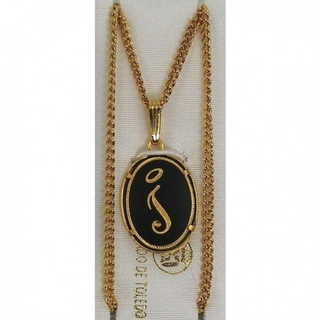 Damascene Gold Letter I Oval Pendant