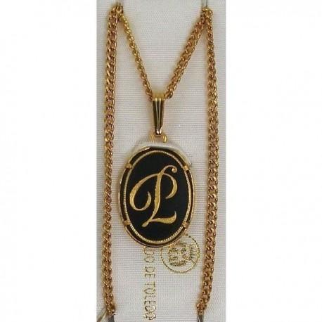 Damascene Gold Letter P Oval Pendant