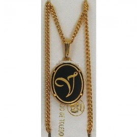 Damascene Gold Letter V Oval Pendant