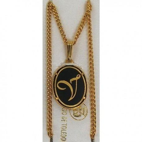 Damascene Gold Letter V Oval Pendant