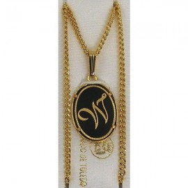 Damascene Gold Letter W Oval Pendant