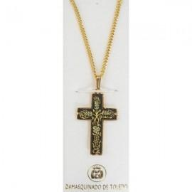 Damascene Gold Thorn Cross Pendant style 2250