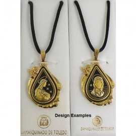 Damascene Gold Virgin Mary Oval Pendant