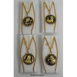 Damascene Gold Virgin Mary Round Pendant