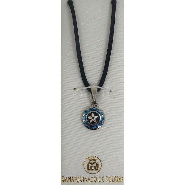 Damascene Silver /& Enamel Flower Round Pendant Necklace by Midas of Toledo Spain