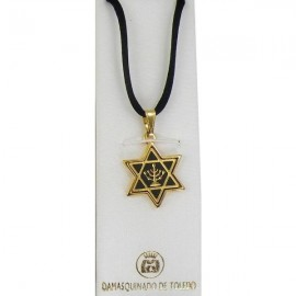 Damascene Gold Menorah Star of David Pendant