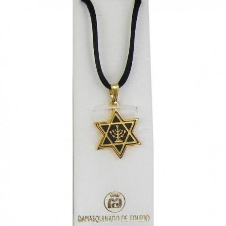 Damascene Gold Menorah Star of David Pendant