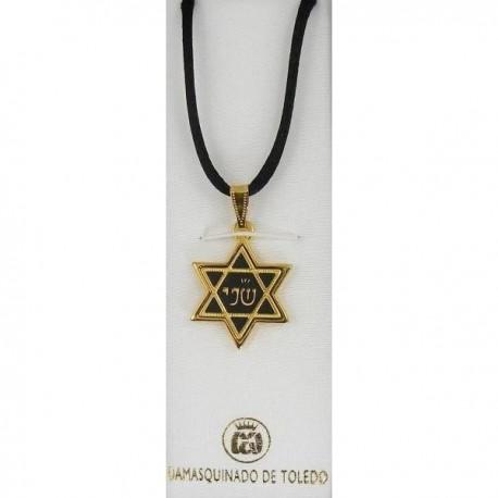 "Damascene Gold ""Second"" Star of David Pendant"